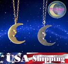 New Crescent Moon Happy Goth Silver Gold Silver Pendant Necklace
