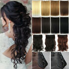 100% Real Natural Clip in Hair Extensions Ombre Long For Human Hair Curly US Nl8