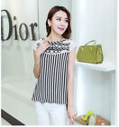 Women Trendy Slim Fit Stripes Long Chiffon Loose Blouse Short Sleeves