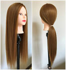 """24"""" Synthetic Human Hair Cutting Styling Training Head Mannequin Dark Blonde"""