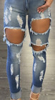 USA Machine Jeans New Womens Ripped Destroyed Distressed Fitted Low Rise Skinny