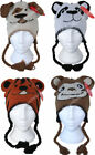 Childrens Animal Peru Hat Fleece Lined. Dog Panda Tiger Monkey for Girls & Boys