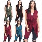 Womens Ladies Belted Waterfall Short Sleeveless Crepe Fabric Cardigan Top 8-14