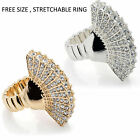 Elastic Crystal Gems Vintage Silver Gold Women Rings Statement Costume Jewellery