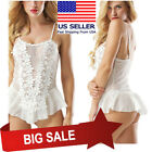 Teddies - White Floral Lace Babydoll Teddy Tank Top Ruffled Skirt Boudoir Lingerie M5XL