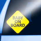 Yellow Baby on Board vinyl decal sticker bumper window sign for tinted windows