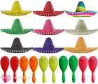 MEXICAN SOMBRERO HAT AND MARACAS WILD WEST BANDIT FANCY DRESS COSTUME ACCESSORY