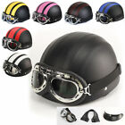 Half Open Face Leather Motorcycle Helmet New Scooter Sun Visor With Goggles New