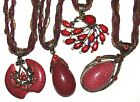 BLACK & RED GORGEOUS LADIES NECKLACE WITH SILK & BEAD CHAIN LADIES GIFT IDEA