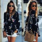 Women Ladies Casual V Neck Long Sleeve Blouse Sheer Floral Shirt Tops T-shirt