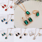 6Colors Women Girl Rectangle Dangle Necklace Stud Earring Ring Jewelry Sets