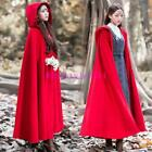 Chinese Lady Long Trench Coat Wool Blend Poncho Hooded Cloak Cape Outwear Parkas