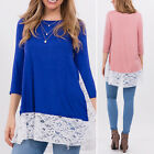 NEW Fashion Ladies Women's Long Sleeve LACE Casual Blouse Loose Tops T Shirt Tee