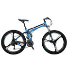 "26"" Folding Mountain Bike Shimano 21 Speed Bicycle Full Suspension Disc Brakes"