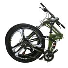 "26"" Folding Mountain Bike Shimano 21 Speed Bicycle Full Suspension MTB Bikes"