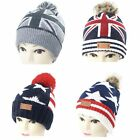 GB USA Flag Beanie Pom Pom Hats Stars and Stripes Warm Winter Union Jack Ski Hat