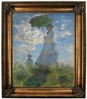 Monet On the rock cliff Madame Monet and her son Framed Canvas Print Repro 20x24