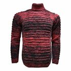LaVane Men's Classic Fit Cotton Blend Ribbed Turtle Neck Knitted Sweater Red