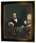 Frith Charles Dickens in his Study 1859 Framed Canvas Print Repro 16x20