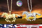 New Horse Running Pony 3D Gold Silver Pendant Necklace