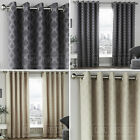 Pair Geometric Modern Woven Jacquard Cotton Rich Eyelet Ring Top Lined Curtains