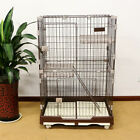 Folding Cat Cage 2-Door Collapsible Pet Wire Crate w/ Rest Benches Ladder & Tray