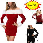 Sexy Christmas Cosplay Women Off Shoulder Santa Red Fancy Dress Xmas Red S-XL