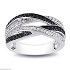 Infinity 925 Silver Jewelry Black & White Sapphire Women Wedding Ring Size 6-10