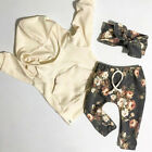 US Stock Newborn Baby Kids Girls Clothes Floral Hooded Tops+Long Pants Outfits фото