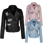 *CLEARANCE* Women's Faux Leather Zip Up Everyday Bomber Jacket With Patch