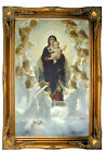 Bouguereau The Virgin With Angels Wood Framed Canvas Print Repro 19x30