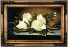 Heade Giant Magnolias Wood Framed Canvas Print Repro 12x20