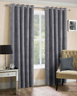 Silver Faux Suede Ring Top Eyelet Ready Made Lined Curtains For Bedroom / Lounge