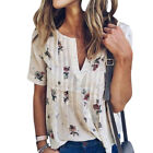 Sexy V Neck Short Sleeve Floral Polka Dot Print Chiffon Shirt White Blouse Women