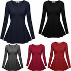 Womens Long Sleeve Comfy Loose Fit O-neck Tunic Top Blouse Party Mini Dress