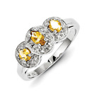 925 Rhodium Flashed Silver Citrine and Diamond 3-Stone Oval Cut Ring - 0.504cttw