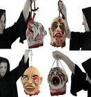 PACK OF 4 HANGING SEVERED HEADS RUBBER LATEX LIFE SIZE HALLOWEEN PROP DECORATION