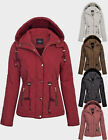 KOGMO Womens Fur Lined Lightweight Zip Up Quilted Jacket with Detachable Hood