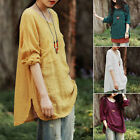 Fashion Womens Oversized Crewneck Casual Baggy Loose Linen Tops Shirt Blouse Hot