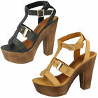 LADIES SPOT ON STRAPPY SANDALS WITH CHUNKY HEEL AND PLATFORM STYLE: F10454