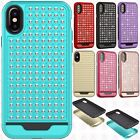 For Apple iPhone X HYBRID IMPACT Diamond Layered Phone Cover Case Accessory
