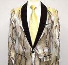 Manzini Insomnia blazer Stage Performer Formal Jacket Shiny Floral MZS255 Gold