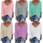Women V Neck Long Sleeve Leisure Pullover Sweater Shirt Loose Blouse Jumper Top