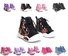 New Adorable Baby Toddler Girls Canvas High Tops Lace Up Shoes Inside Zipper