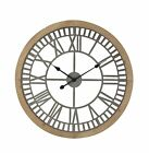 Oversized Isamary Contemporary Round Wood and Metal Analog 28 Wall Clock