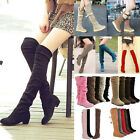 Over The Knee Womens Low Heels Slouch Faux Boots Snow Shoes Suede Winter Warm