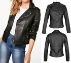 New Women Vintage PU Faux Leather Side Zip Black Motorcycle Biker Jacket 8-16 UK