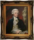 Brown Portrait of Thomas Jefferson Framed Canvas Print Repro 16x20
