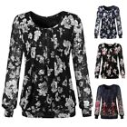 Women Winter Lace Mesh Printed Pleated Front Long Sleeve Tunic Top Blouses M-XXL