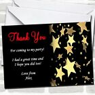 thank you cards text - Gold Stars Red Text Party Thank You Cards